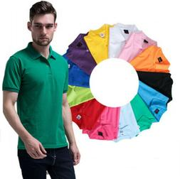 100% Cotton Mens Polo T-Shirts Summer Casual Short Sleeve Sh