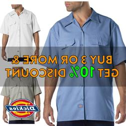 DICKIES 1574 MEN'S PLAIN BUTTON UP SHORT SLEEVE SHIRT FORMAL