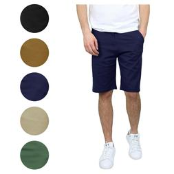 2-Pack Mens Stretch Chino Shorts Flat Front 5 Pocket Summer