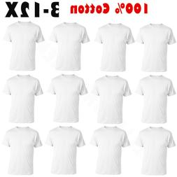 3-12 Pack Mens 100% Cotton Tagless Crew-Neck T-Shirt Undersh