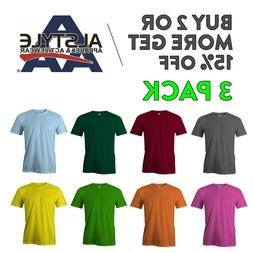 3 PACK AAA ALSTYLE 1301 MENS CAUSL T SHIRT PLAIN SHORT SLEEV
