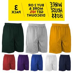 3 PACK MENS MESH SHORTS BASKETBALL SHORTS WORKOUT FITNESS JE