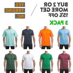 3 PACK PROCLUB PRO CLUB MENS HEAVYWEIGHT T SHIRT PLAIN SHORT