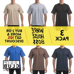 3 PACK PROCLUB PRO CLUB MEN'S HEAVYWEIGHT SHORT SLEEVE T-SHI