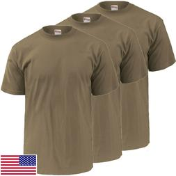 Soffe 3-Pack TAN T-Shirt, 100% Cotton - Made in USA