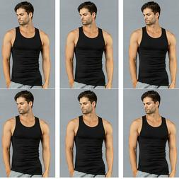 6 PK Mens Black Tank Top 100% Cotton A-Shirt Wife Beater Rib
