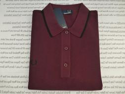 FRED PERRY 7200 Polo Mens Mahogany Size M Tipped & Pique Kni