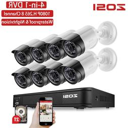ZOSI 8CH 1080P TVI Nightvision Waterproof Bullet HDD <font><