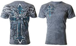Archaic Affliction Mens S/S T-Shirt RED FLAG Cross Wings GRE