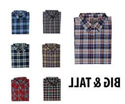 Big and Tall Men's Classic Plaid Long Sleeve Shirts; Button