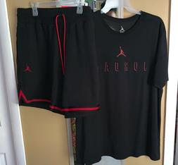 BNWT MENS AIR JORDAN SET TSHIRT &SHORTS SZ 2XL BRED OUTFIT