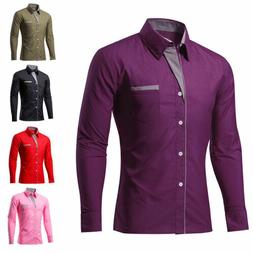 Business Men's Slim Fit Casual Shirts Long Sleeve Formal Dre