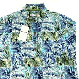 camp shirt think outside the fronds blue