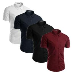 Casual Mens Short Sleeve Button Down T-shirt Tops Slim Fit D