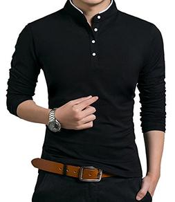 YTD Men's Casual Slim Fit Pure Color Long Sleeve Polo Fash