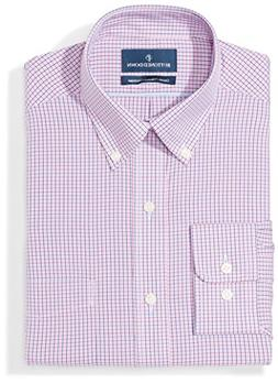 BUTTONED DOWN Men's Classic Fit Button-Collar Pattern Non-Ir