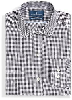 BUTTONED DOWN Men's Classic Fit Spread-Collar Pattern Non-Ir