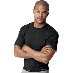 Hanes Men's Classics Black Stretch Crew Neck Tee, Black, Lar