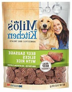 Milo'S Kitchen Beef Sausage Slices With Rice Dog Treats, 18