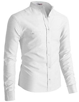 H2H Dress Shirt-100% Cotton Casual Long Sleeve Shirt-Regular