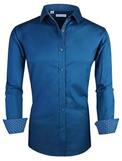 YCOOL Mens Dress Shirts Regular Fit Long Sleeve Casual Butto