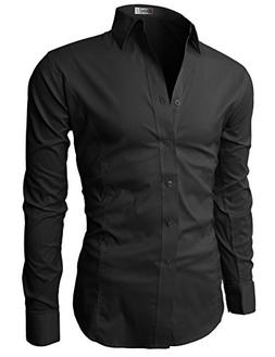 H2H Mens Fashion Dress Shirts with 3/4 Sleeve Various Colors