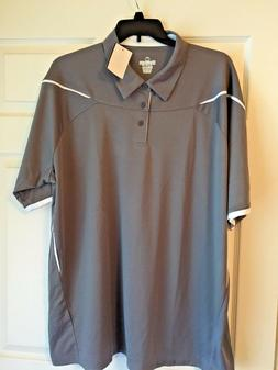 HOLLOWAY DRY EXCEL BIG & TALL MEN'S  POLO  GRAY/WHITE   3XL