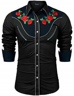 COOFANDY Embroidered Roses Mens Western Shirt NWT  ~ Black ~