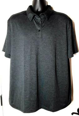 Essentials Men's Tech Stretch Polo Golf Shirt Black Heathe