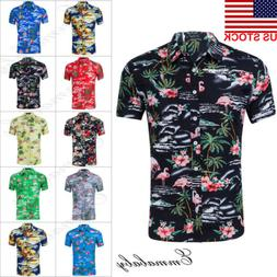 Fashion Hawaiian Shirt Mens Flower Beach Aloha Party Casual