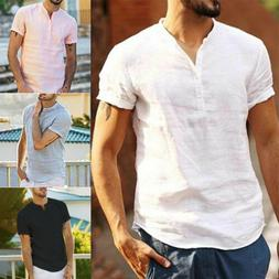 Fashion Men's Linen Short Sleeve T Shirt Casual Loose V Neck