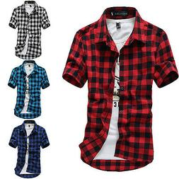 Fashion Men's Summer Casual Dress Shirt Mens Plaid Short Sle