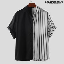 INCERUN Fashion Striped Patchwork <font><b>Men</b></font> <f