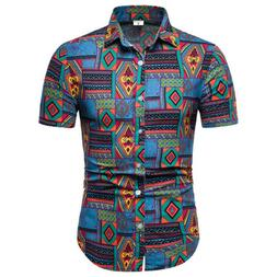 Fashion Summer Casual Dress Shirt Mens Floral Short Sleeve S