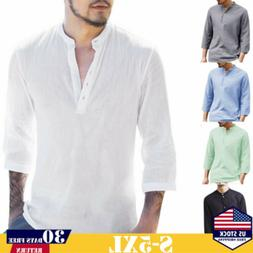 Fasion Mens Polo Shirts Casual Cotton Button Beach Loose Lon