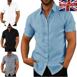 <font><b>Mens</b></font> Linen Blouse Short Sleeve Baggy But