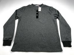 H2H Gray Men's Thermal Long Sleeve Henley Cotton Shirt L Lar