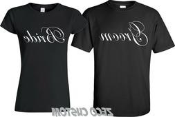 GROOM AND BRIDE T-Shirts Just Married Date On back Wedding L