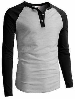 H2H Mens Casual Premium Slim Fit T-Shirts Henley Long & 3/4