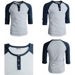 H2H Mens Casual Premium Slim Fit T-Shirts Henley 3/4 Sleeve