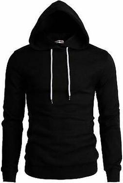 H2H Mens Casual Slim Fit Long Sleeve Hoodie Lightweight Basi