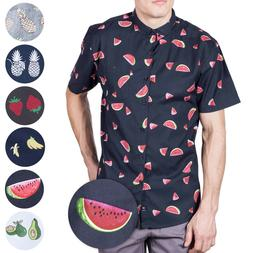 Visive Hawaiian Shirt For Mens Short Sleeve Button Down Up N