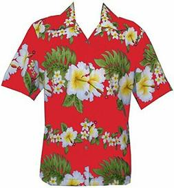 Hawaiian Shirt Mens Hibiscus Floral Print Aloha Party Beach