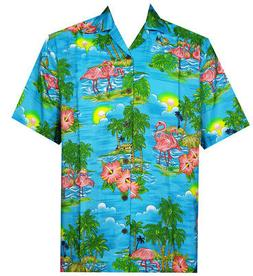 Hawaiian Shirt Mens Scenic Flamingo Beach Aloha Casual Holid