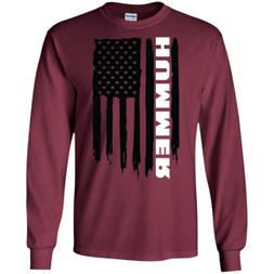 Hummer H1 H2 H3 American Flag T-Shirt Long Sleeve