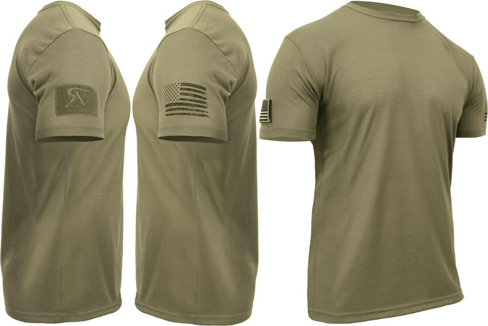 Mens Tactical Athletic Muscle T-Shirt with US Flag & Loop Fi