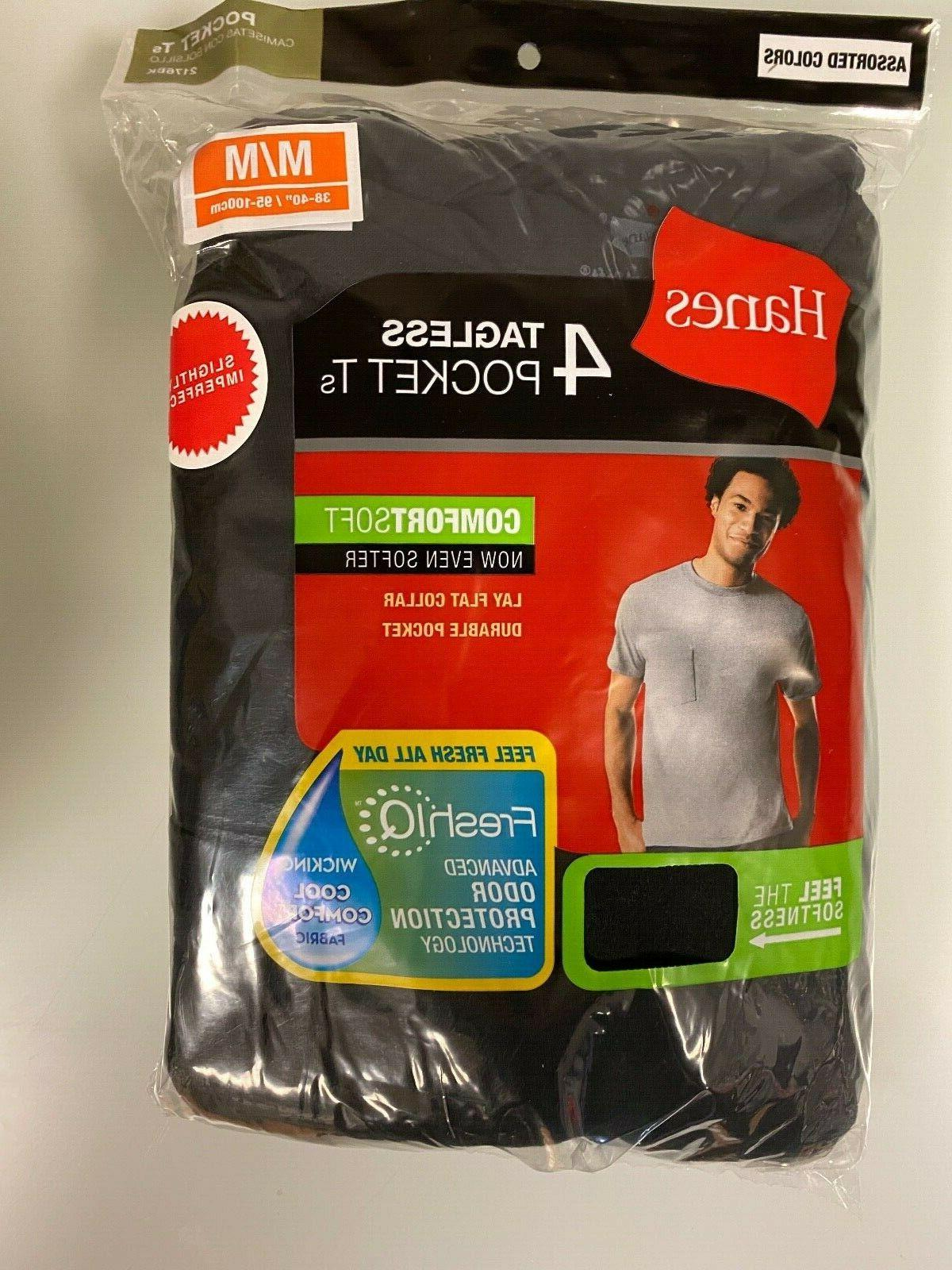 4 pack mens pocket cotton tee t