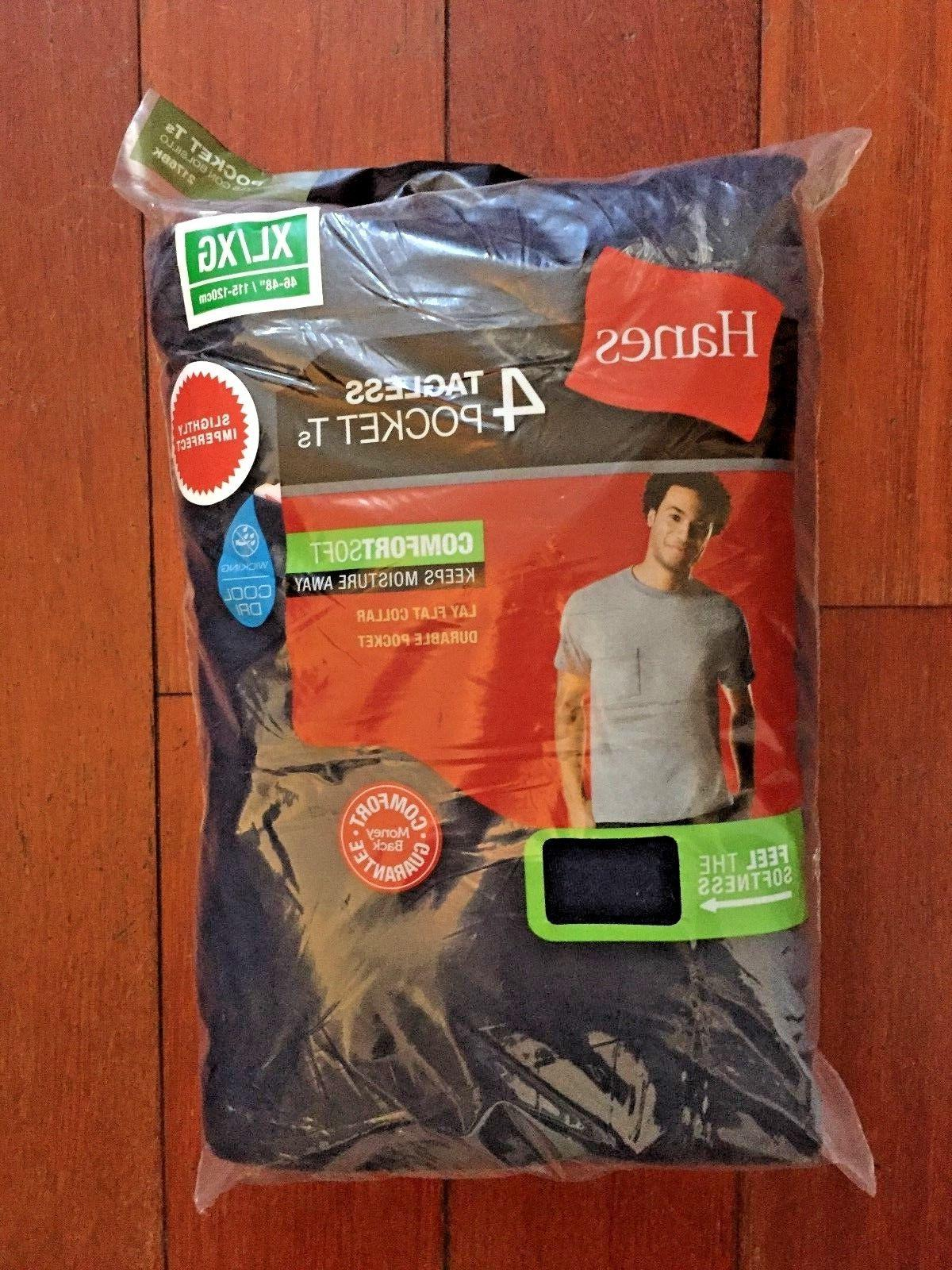 4 pack hanes comfortsoft mens pocket t shirt choose your siz