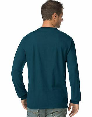 Hanes Men's Long-Sleeve Henley Shirt 3 button