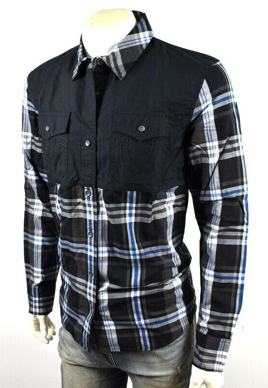 True Mens Plaid Up Shirt/Top -